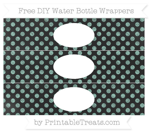 Free Pastel Green Dotted Pattern Chalk Style DIY Water Bottle Wrappers