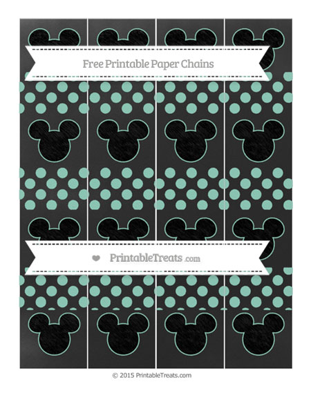 Free Pastel Green Dotted Pattern Chalk Style Mickey Mouse Paper Chains