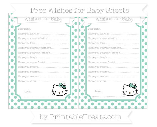 Free Pastel Green Dotted Pattern Hello Kitty Wishes for Baby Sheets