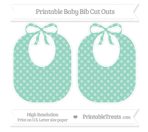 Free Pastel Green Dotted Pattern Large Baby Bib Cut Outs