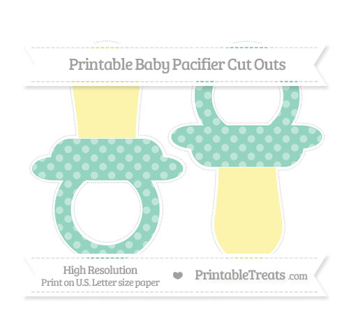 Free Pastel Green Dotted Pattern Large Baby Pacifier Cut Outs