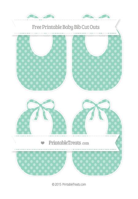 Free Pastel Green Dotted Pattern Medium Baby Bib Cut Outs