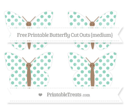 Free Pastel Green Dotted Pattern Medium Butterfly Cut Outs