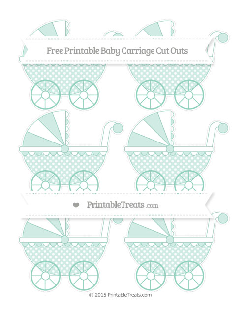Free Pastel Green Dotted Pattern Small Baby Carriage Cut Outs