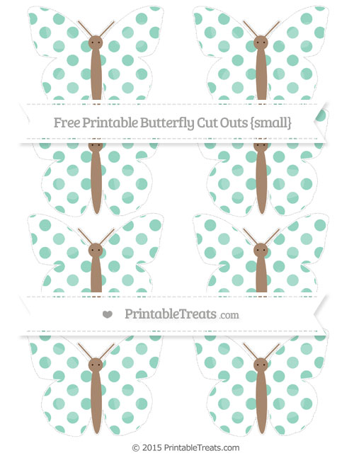 Free Pastel Green Dotted Pattern Small Butterfly Cut Outs