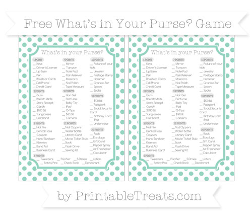 Free Pastel Green Dotted Pattern What's in Your Purse Baby Shower Game