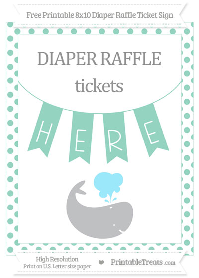 Free Pastel Green Dotted Whale 8x10 Diaper Raffle Ticket Sign