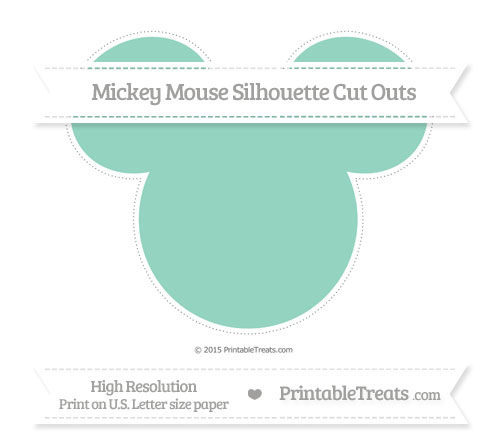 Free Pastel Green Extra Large Mickey Mouse Silhouette Cut Outs