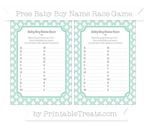 Free Pastel Green Fish Scale Pattern Baby Boy Name Race Game