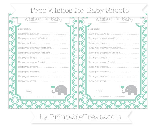 Free Pastel Green Fish Scale Pattern Baby Elephant Wishes for Baby Sheets