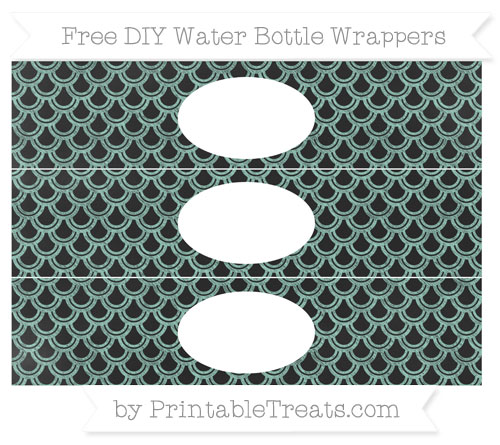 Free Pastel Green Fish Scale Pattern Chalk Style DIY Water Bottle Wrappers