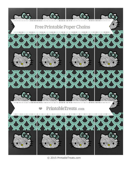 Free Pastel Green Fish Scale Pattern Chalk Style Hello Kitty Paper Chains