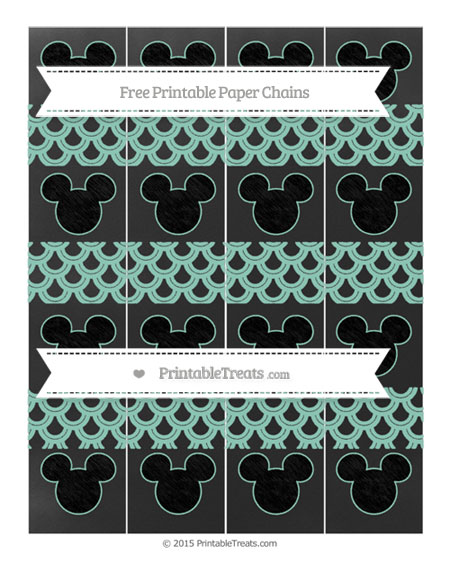 Free Pastel Green Fish Scale Pattern Chalk Style Mickey Mouse Paper Chains
