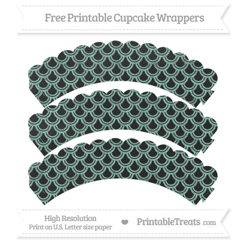 Free Pastel Green Fish Scale Pattern Chalk Style Scalloped Cupcake Wrappers
