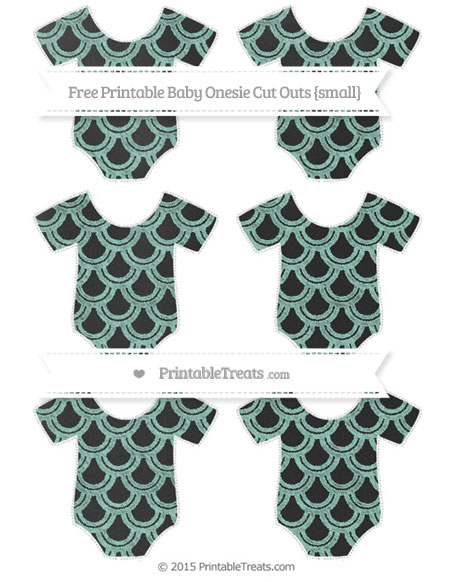 Free Pastel Green Fish Scale Pattern Chalk Style Small Baby Onesie Cut Outs