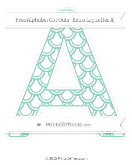 Free Pastel Green Fish Scale Pattern Extra Large Capital Letter A Cut Outs