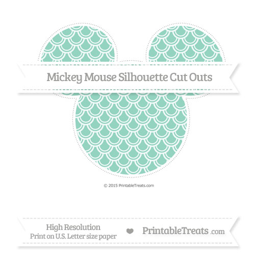Free Pastel Green Fish Scale Pattern Extra Large Mickey Mouse Silhouette Cut Outs