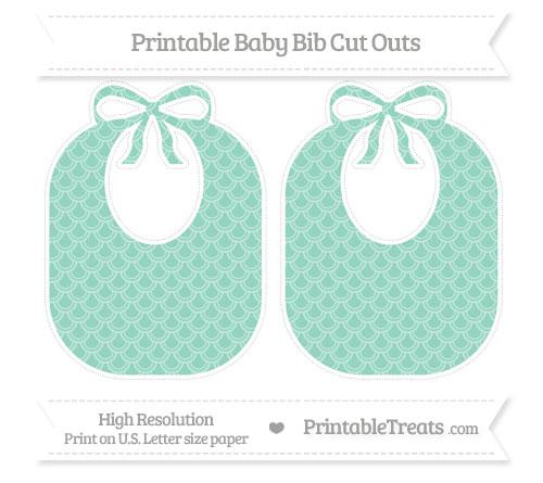 Free Pastel Green Fish Scale Pattern Large Baby Bib Cut Outs