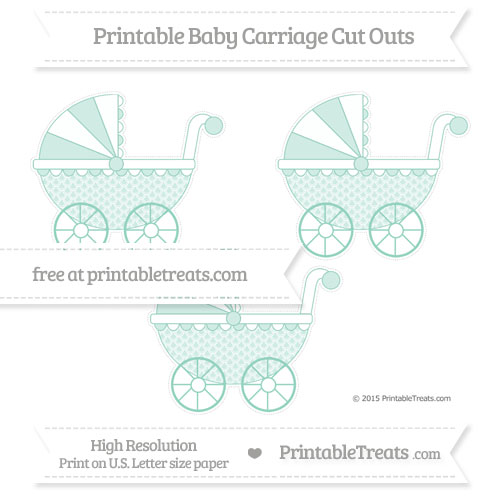 Free Pastel Green Fish Scale Pattern Medium Baby Carriage Cut Outs