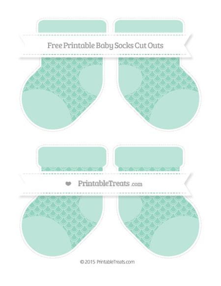 Free Pastel Green Fish Scale Pattern Medium Baby Socks Cut Outs