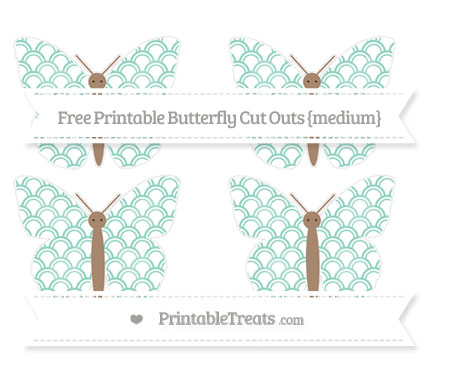 Free Pastel Green Fish Scale Pattern Medium Butterfly Cut Outs