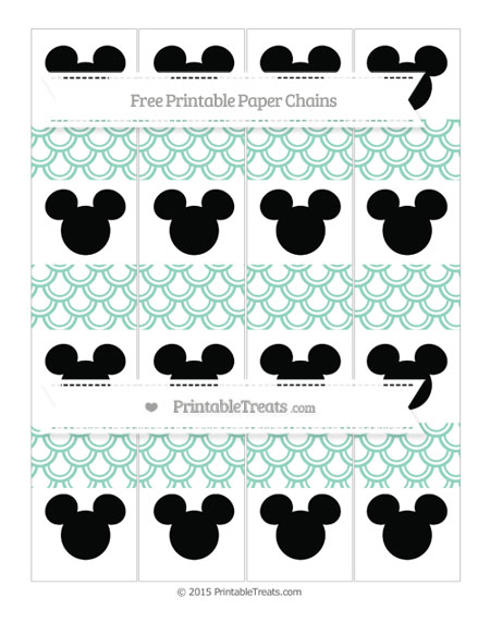 Free Pastel Green Fish Scale Pattern Mickey Mouse Paper Chains