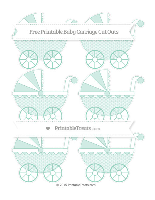 Free Pastel Green Fish Scale Pattern Small Baby Carriage Cut Outs