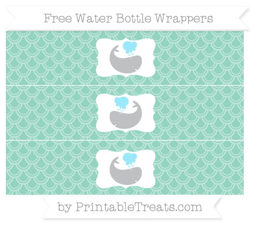 Free Pastel Green Fish Scale Pattern Whale Water Bottle Wrappers