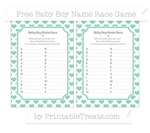Free Pastel Green Heart Pattern Baby Boy Name Race Game