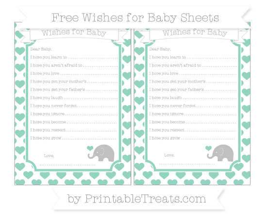 Free Pastel Green Heart Pattern Baby Elephant Wishes for Baby Sheets