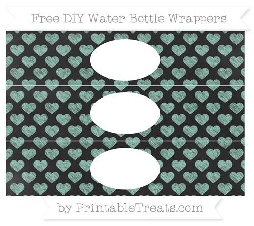 Free Pastel Green Heart Pattern Chalk Style DIY Water Bottle Wrappers