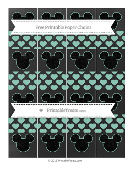 Free Pastel Green Heart Pattern Chalk Style Mickey Mouse Paper Chains