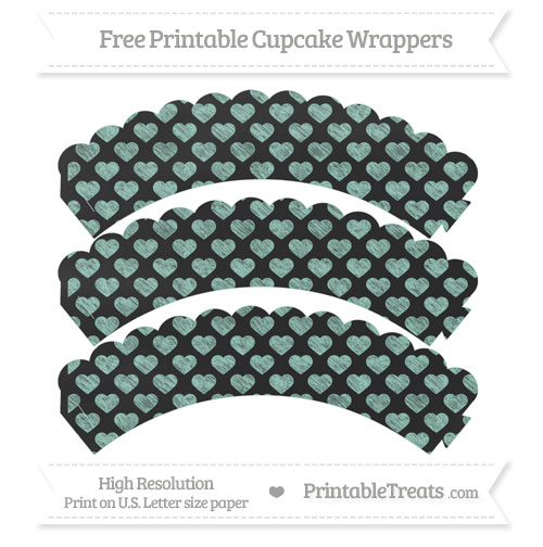 Free Pastel Green Heart Pattern Chalk Style Scalloped Cupcake Wrappers