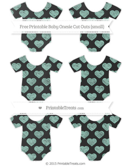 Free Pastel Green Heart Pattern Chalk Style Small Baby Onesie Cut Outs