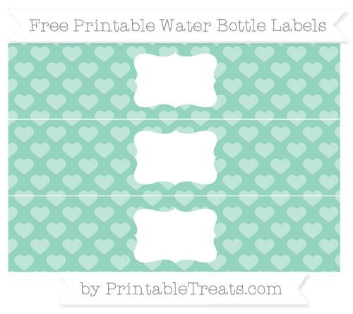 Free Pastel Green Heart Pattern Water Bottle Labels