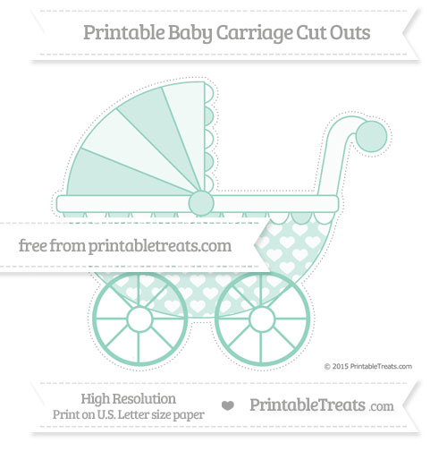 Free Pastel Green Heart Pattern Extra Large Baby Carriage Cut Outs