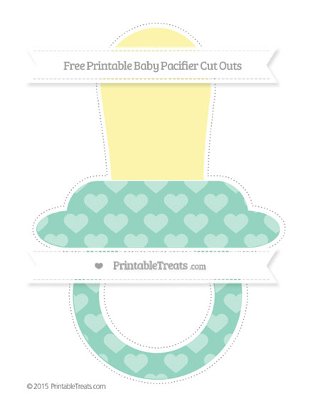 Free Pastel Green Heart Pattern Extra Large Baby Pacifier Cut Outs