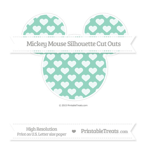 Free Pastel Green Heart Pattern Extra Large Mickey Mouse Silhouette Cut Outs