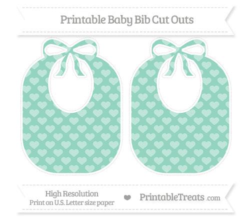 Free Pastel Green Heart Pattern Large Baby Bib Cut Outs