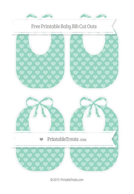 Free Pastel Green Heart Pattern Medium Baby Bib Cut Outs