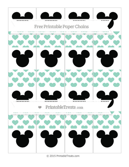 Free Pastel Green Heart Pattern Mickey Mouse Paper Chains