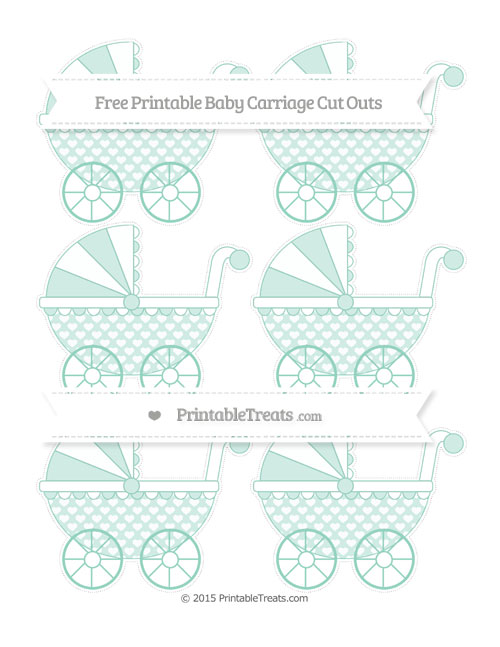 Free Pastel Green Heart Pattern Small Baby Carriage Cut Outs
