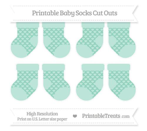 Free Pastel Green Heart Pattern Small Baby Socks Cut Outs