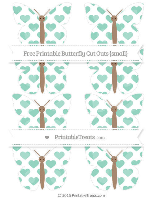 Free Pastel Green Heart Pattern Small Butterfly Cut Outs