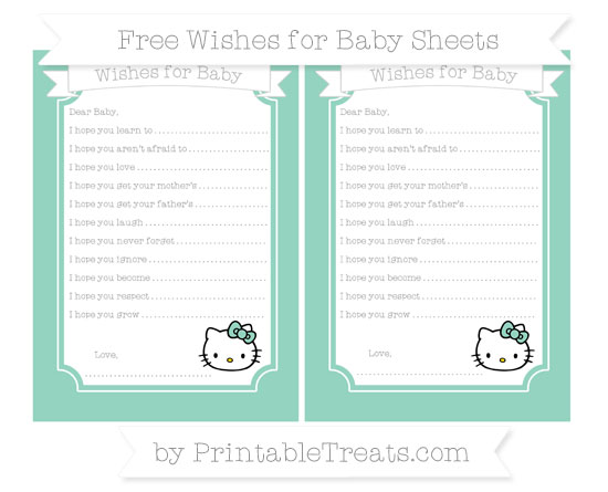 Free Pastel Green Hello Kitty Wishes for Baby Sheets