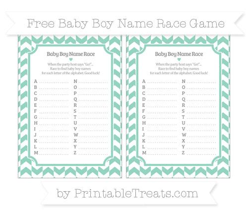 Free Pastel Green Herringbone Pattern Baby Boy Name Race Game