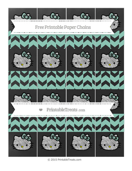 Free Pastel Green Herringbone Pattern Chalk Style Hello Kitty Paper Chains