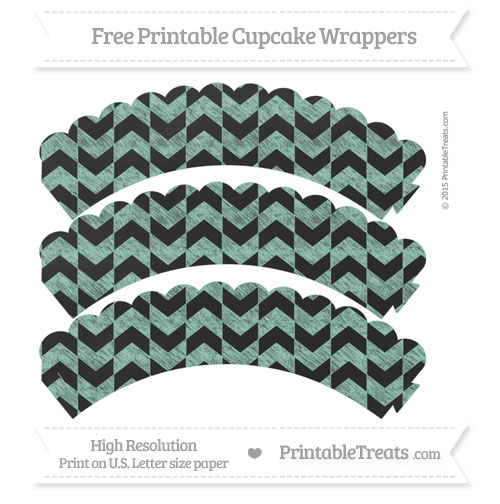 Free Pastel Green Herringbone Pattern Chalk Style Scalloped Cupcake Wrappers