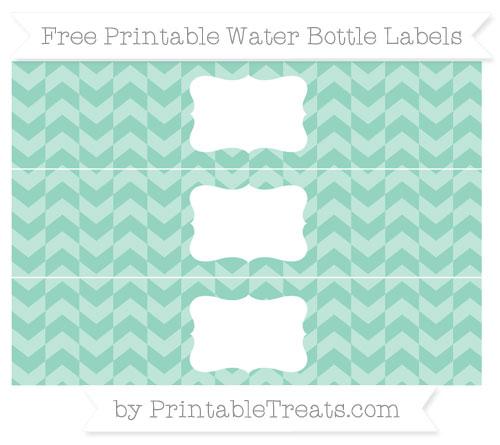 Free Pastel Green Herringbone Pattern Water Bottle Labels