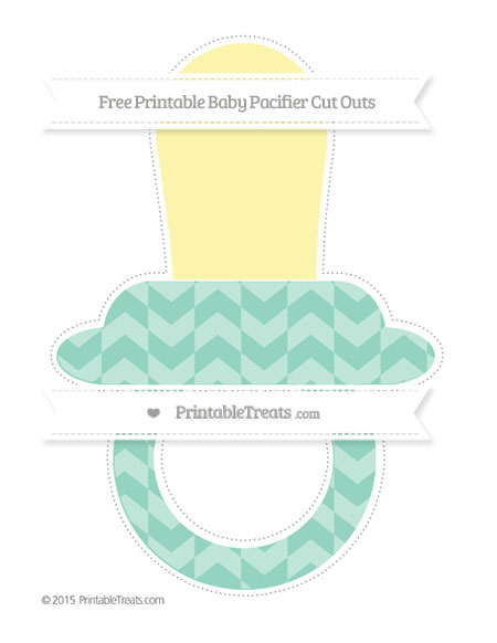 Free Pastel Green Herringbone Pattern Extra Large Baby Pacifier Cut Outs